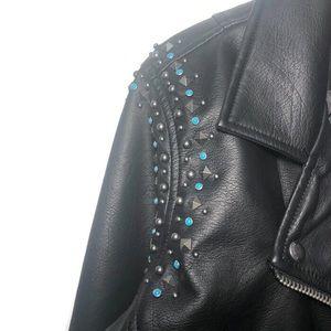 Blank NYC vegan leather studded moto jacket NWT